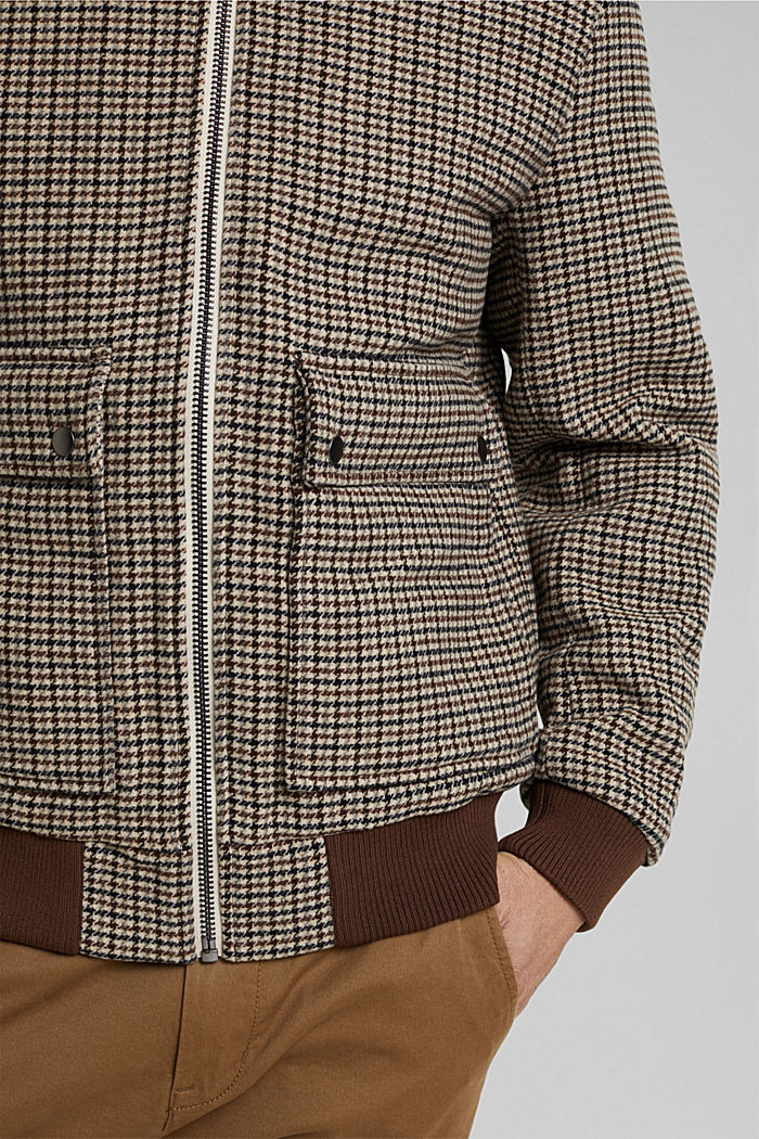 Recycled: houndstooth jacket with wool, CARAMEL, detail image number 6