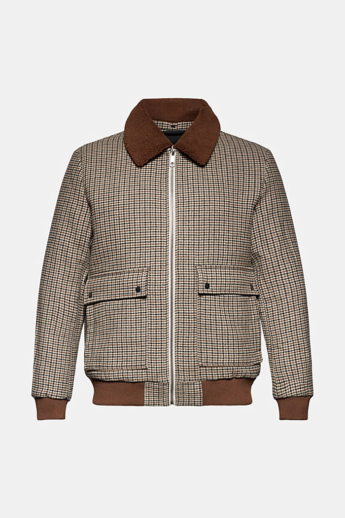 Recycled: houndstooth jacket with wool, CARAMEL, detail image number 7