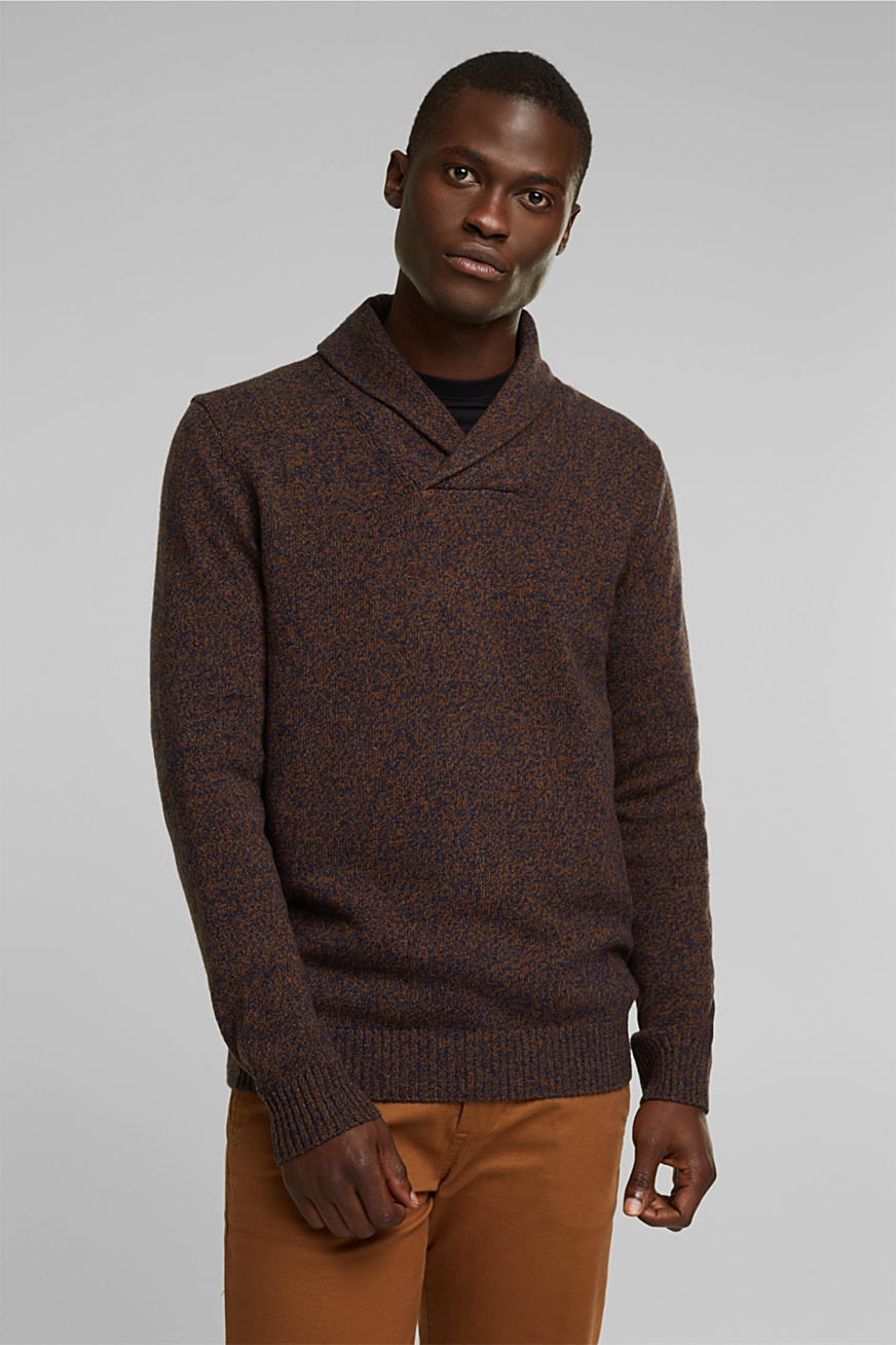 Made of blended wool: Jumper with organic cotton