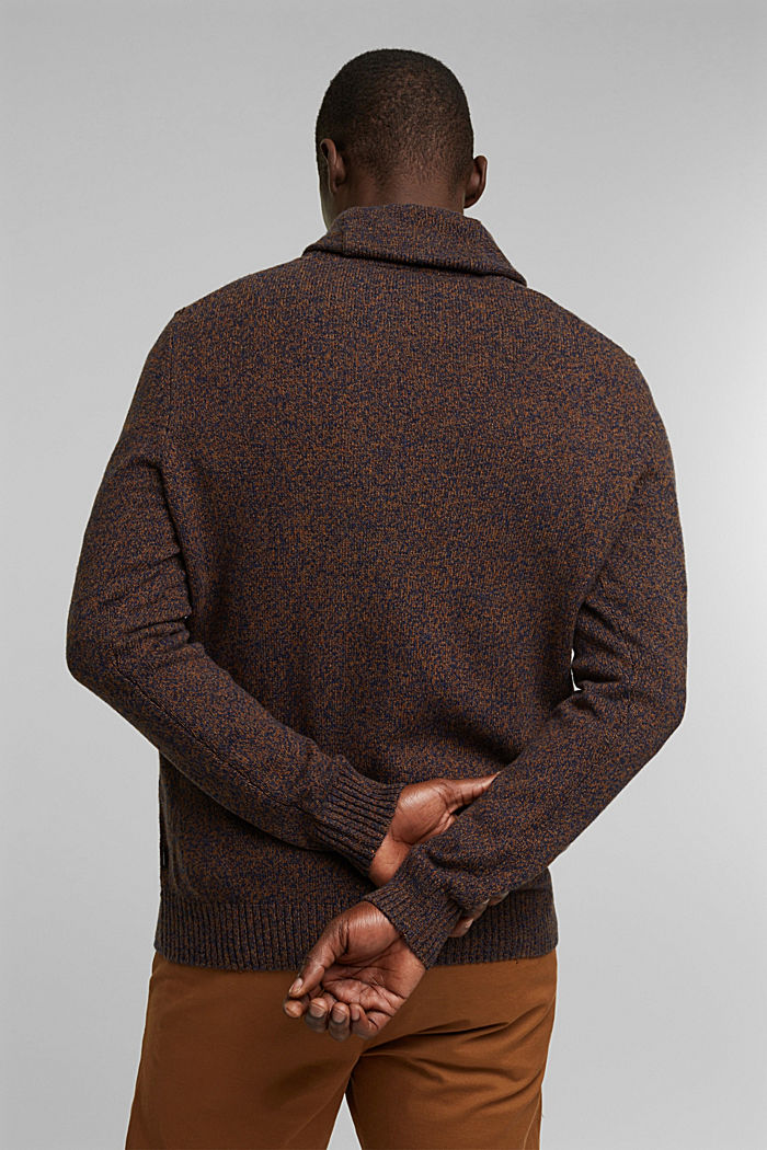 Made of blended wool: Jumper with organic cotton, BARK, detail image number 3
