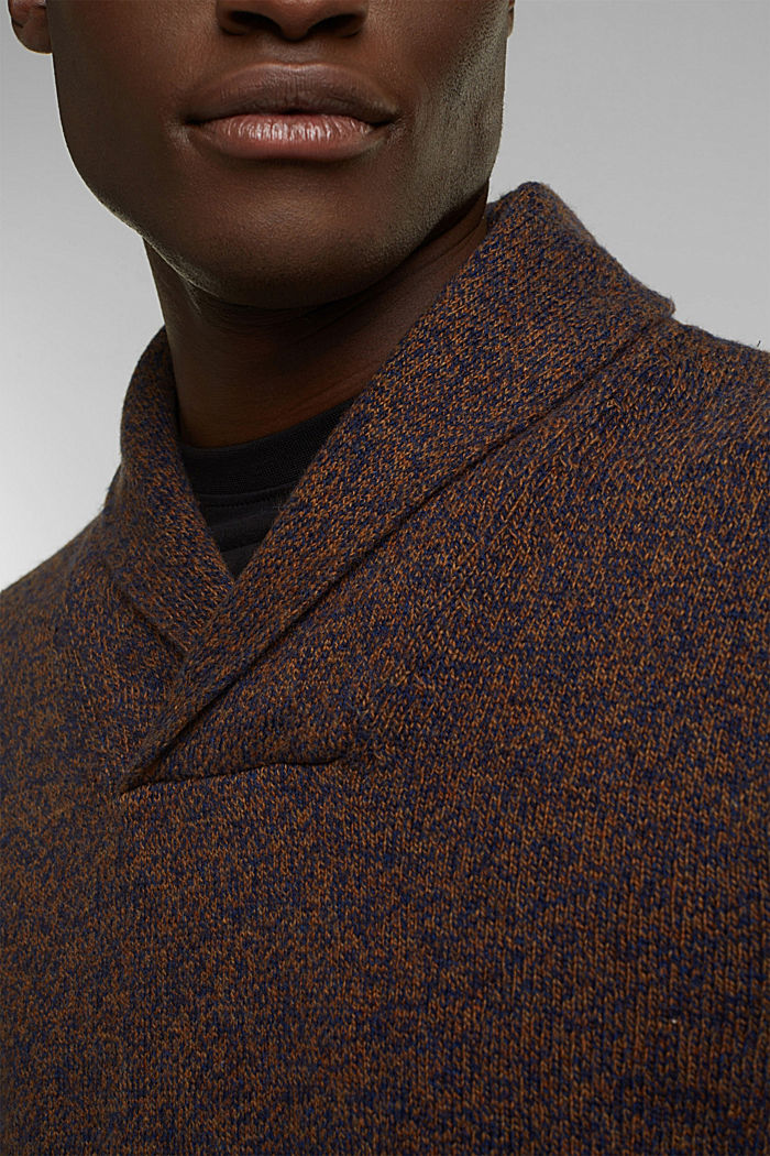 Made of blended wool: Jumper with organic cotton, BARK, detail image number 2
