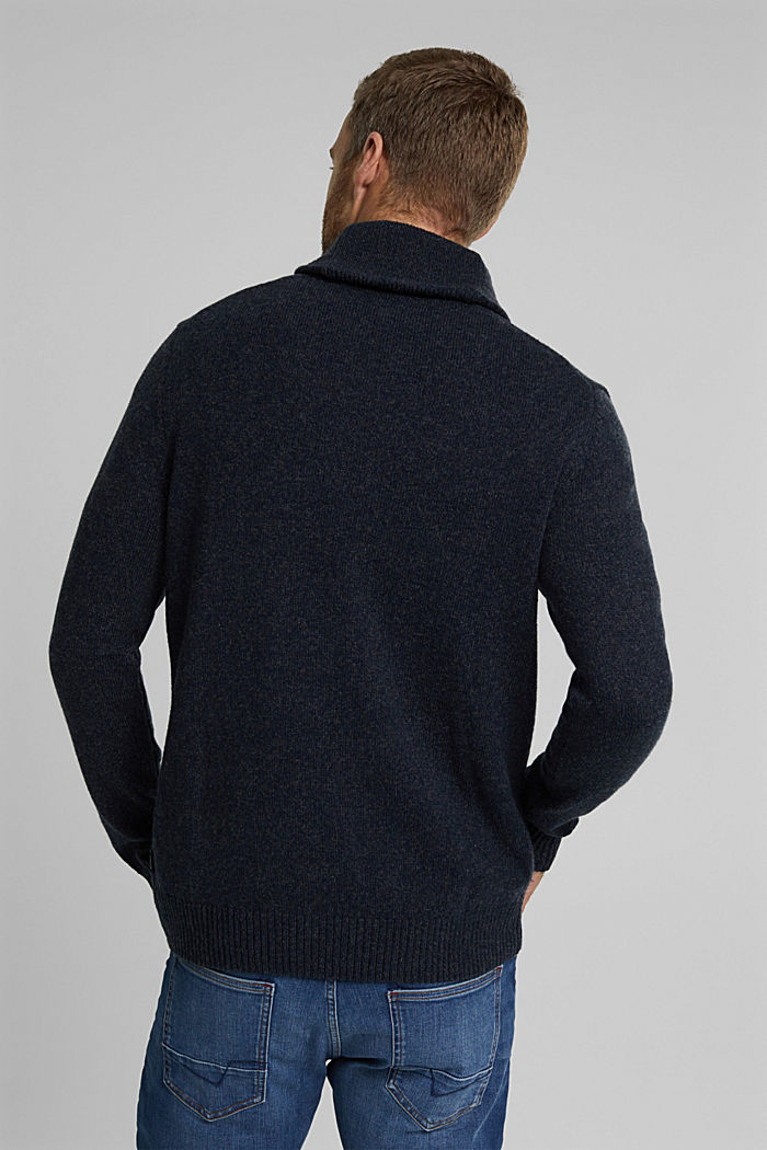 Made of blended wool: Jumper with organic cotton, NAVY, detail image number 3