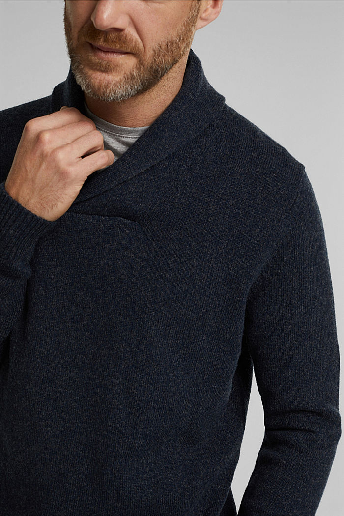 Made of blended wool: Jumper with organic cotton, NAVY, detail image number 2