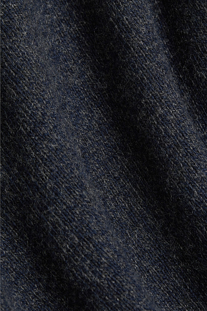 Made of blended wool: Jumper with organic cotton, NAVY, detail image number 4