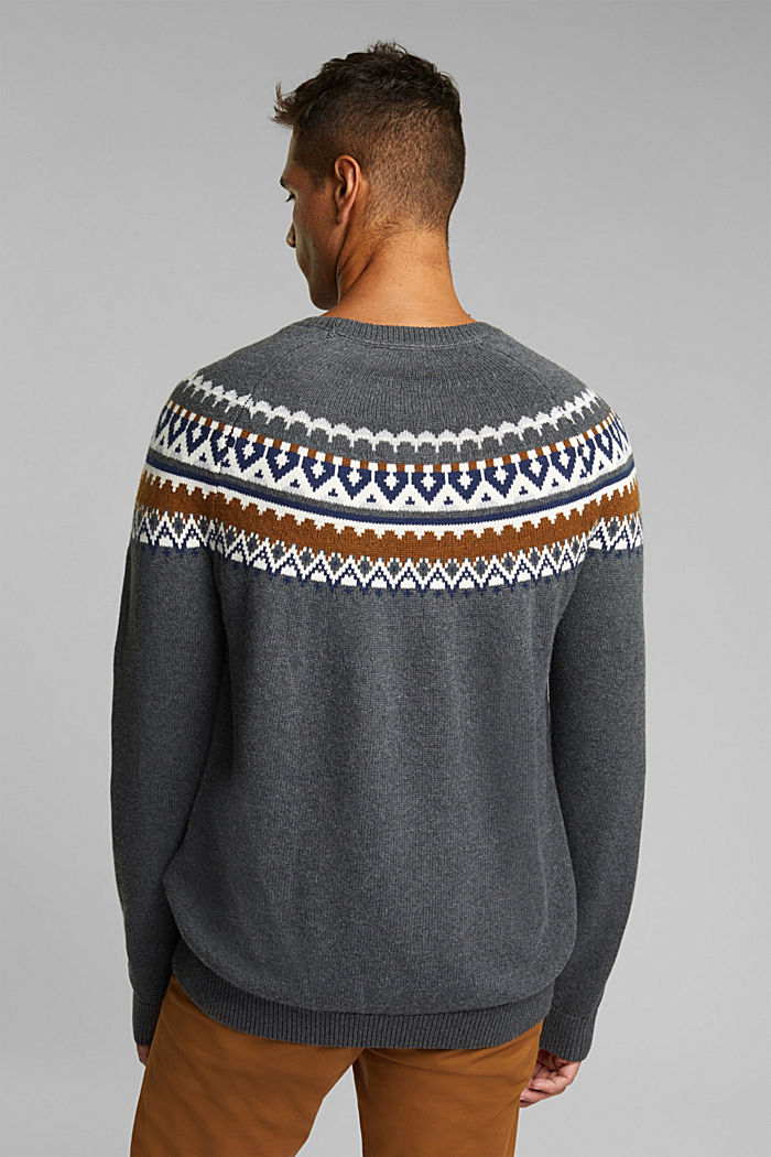 Wolle/Organic Cotton: Jacquard-Pullover, DARK GREY, detail image number 3