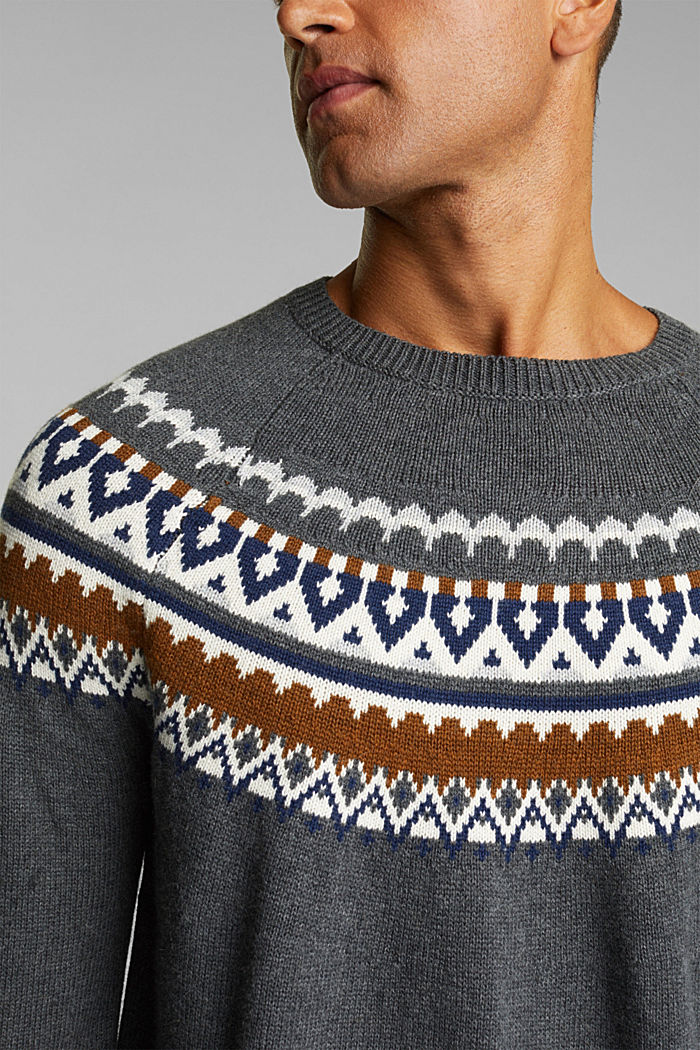 Wool/organic cotton: jacquard jumper, DARK GREY, detail image number 2