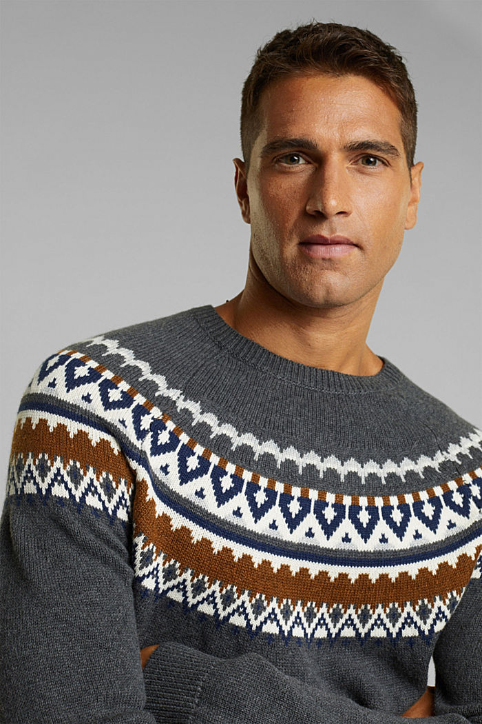 Wolle/Organic Cotton: Jacquard-Pullover, DARK GREY, detail image number 5