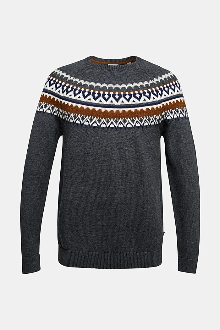 Wool/organic cotton: jacquard jumper, DARK GREY, overview