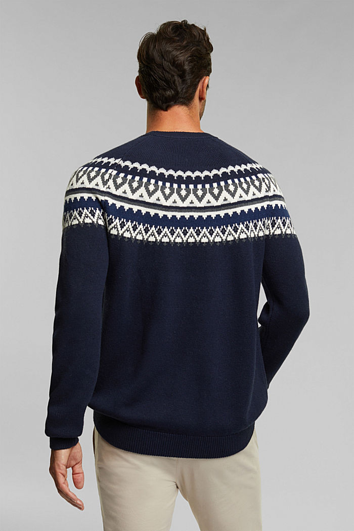 Wolle/Organic Cotton: Jacquard-Pullover, NAVY, detail image number 3