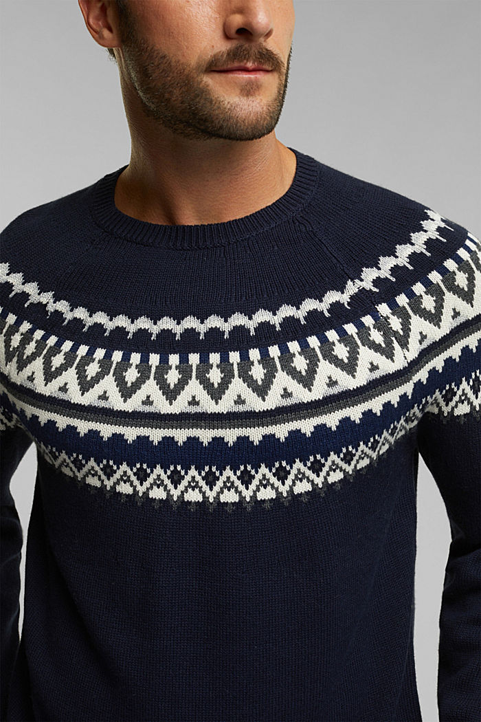 Wolle/Organic Cotton: Jacquard-Pullover, NAVY, detail image number 2