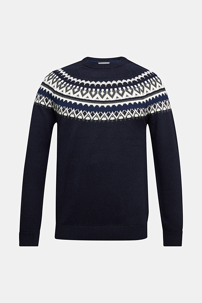 Wolle/Organic Cotton: Jacquard-Pullover, NAVY, detail image number 5