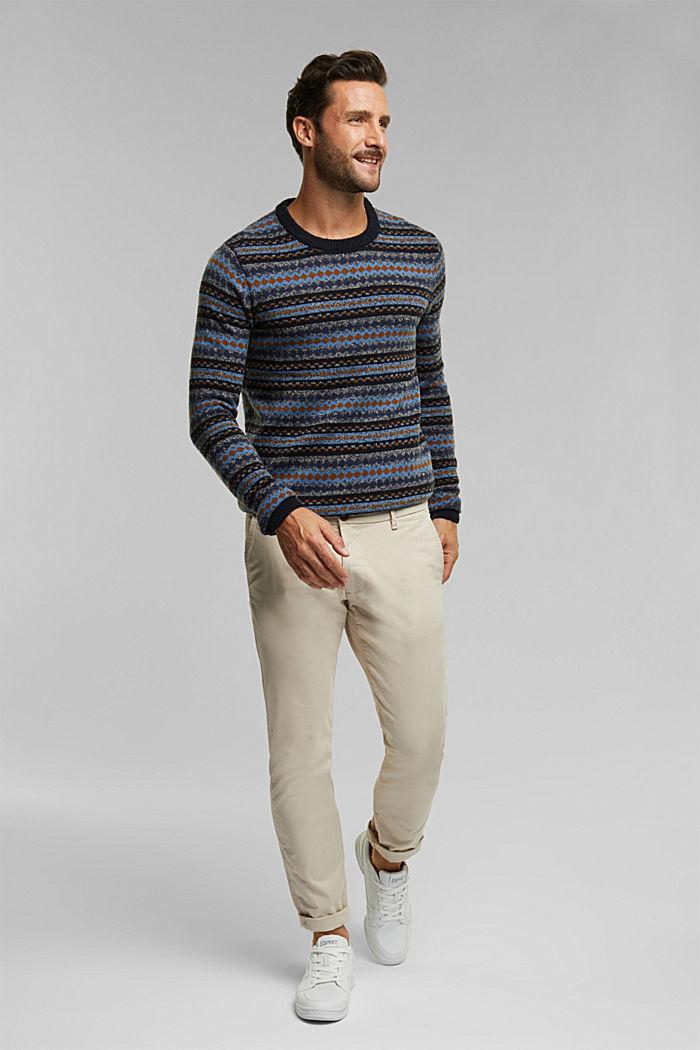 Wool blend: jacquard knit jumper, NAVY, detail image number 1