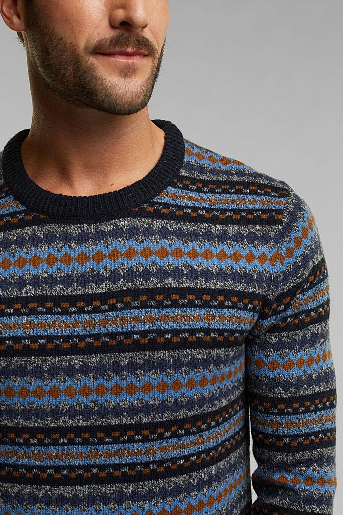 Wool blend: jacquard knit jumper, NAVY, detail image number 2