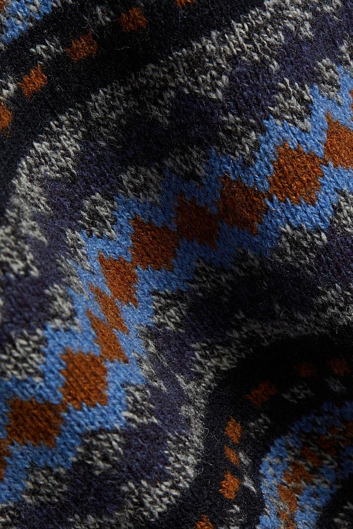 Wool blend: jacquard knit jumper, NAVY, detail image number 4