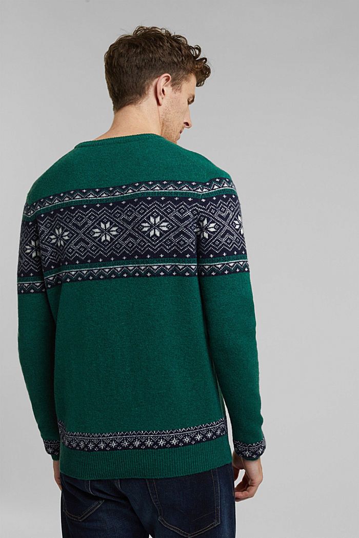 Wolle: Jacquard-Strickpullover, BOTTLE GREEN, detail image number 3