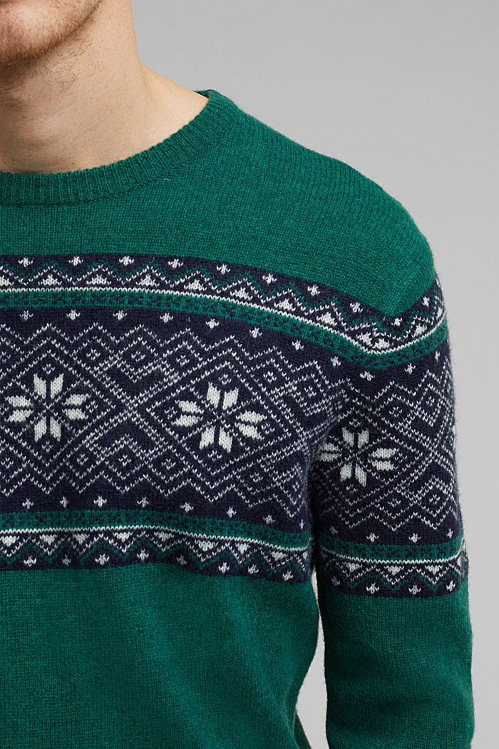 Wolle: Jacquard-Strickpullover, BOTTLE GREEN, detail image number 2