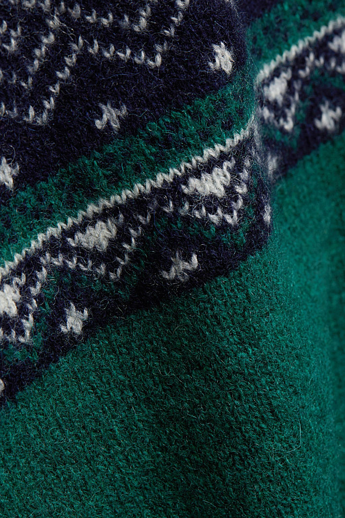 Wolle: Jacquard-Strickpullover, BOTTLE GREEN, detail image number 4