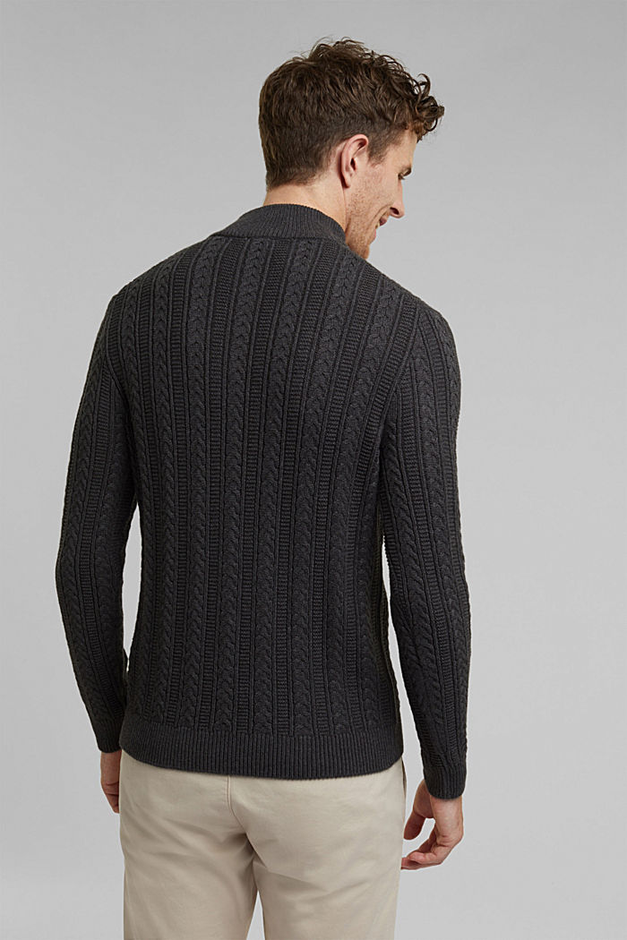 Zip neck jumper, cable knit, 100% organic cotton, ANTHRACITE, detail image number 3