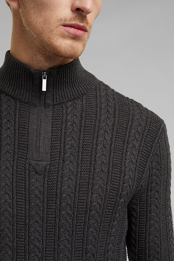 Zip neck jumper, cable knit, 100% organic cotton, ANTHRACITE, detail image number 2