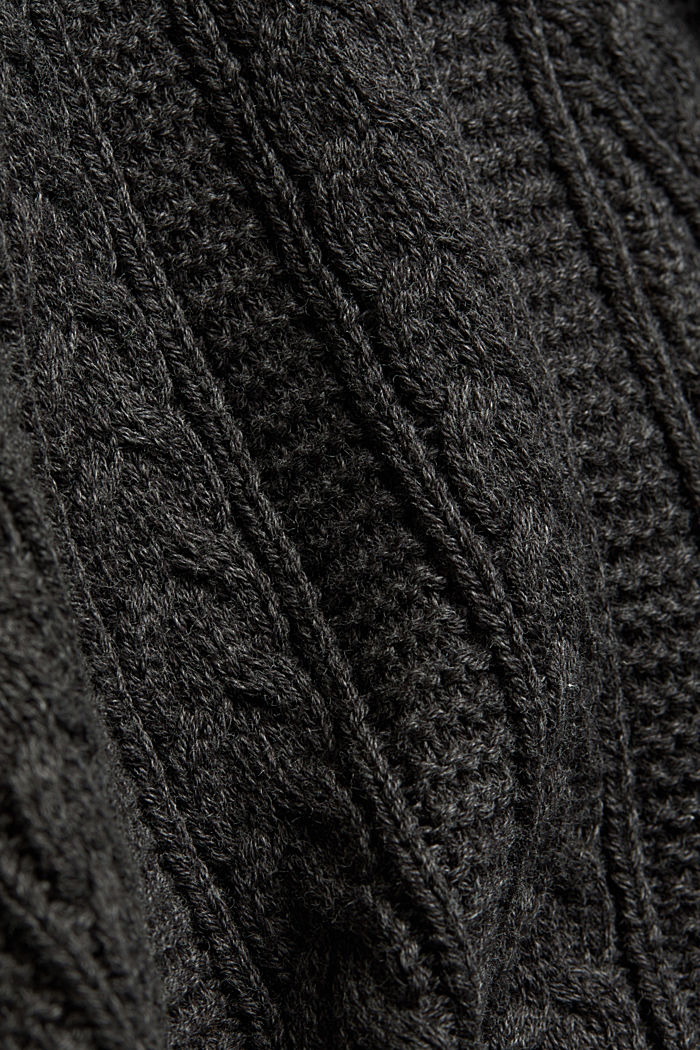 Zip neck jumper, cable knit, 100% organic cotton, ANTHRACITE, detail image number 4