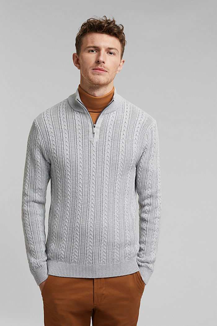 Zip neck jumper, cable knit, 100% organic cotton, LIGHT GREY, detail image number 0