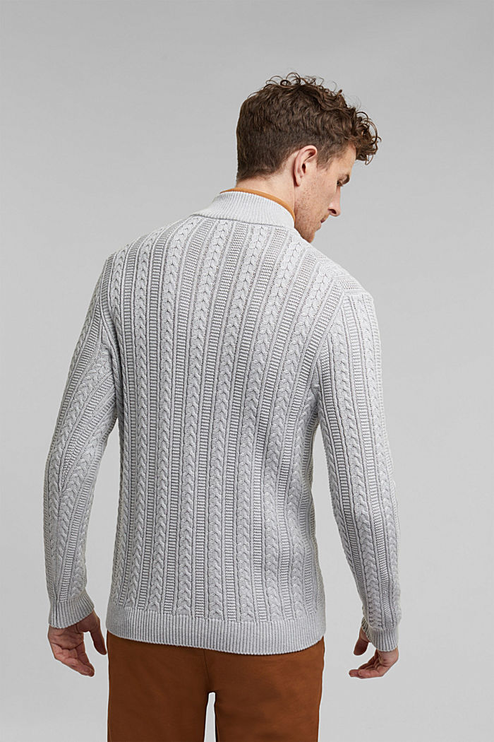 Zip neck jumper, cable knit, 100% organic cotton, LIGHT GREY, detail image number 3