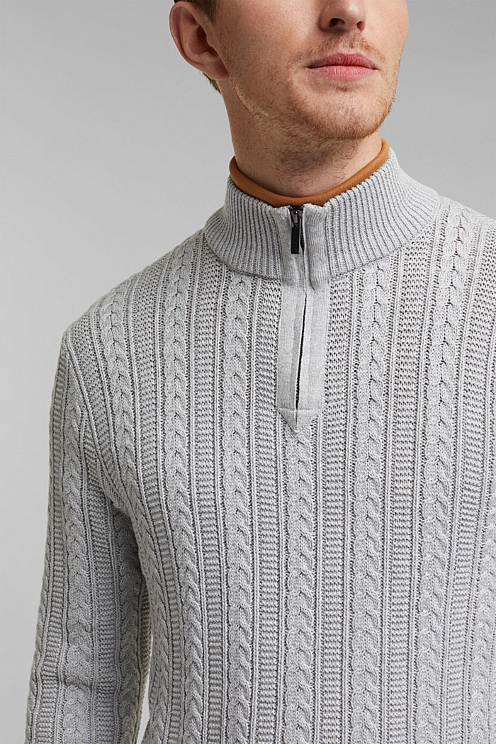 Zip neck jumper, cable knit, 100% organic cotton, LIGHT GREY, detail image number 2