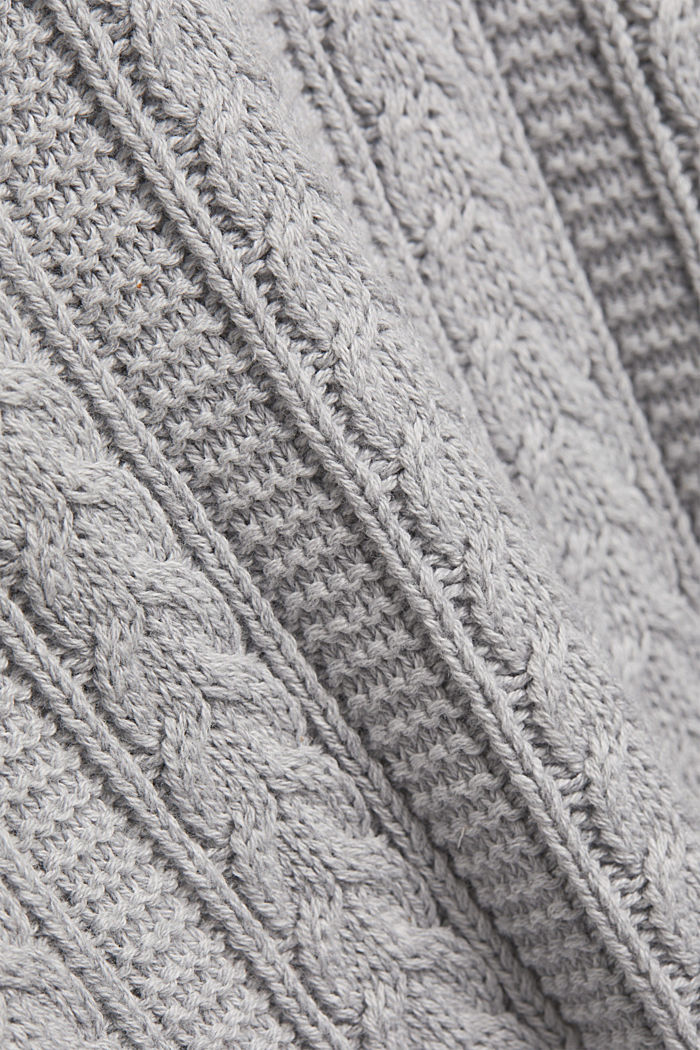 Zip neck jumper, cable knit, 100% organic cotton, LIGHT GREY, detail image number 4
