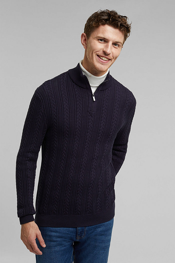 Zip neck jumper, cable knit, 100% organic cotton, NAVY, detail image number 0