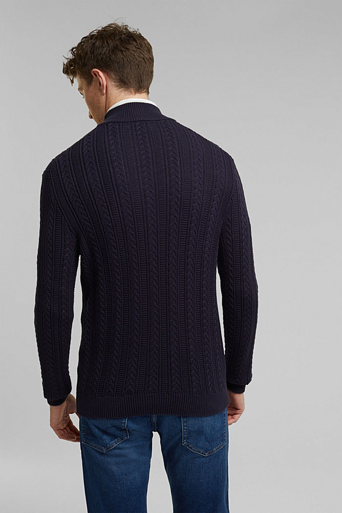 Zip neck jumper, cable knit, 100% organic cotton, NAVY, detail image number 3