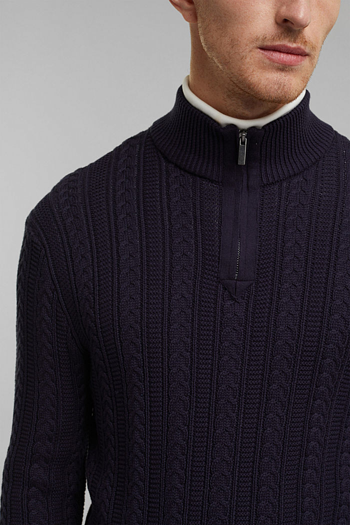 Zip neck jumper, cable knit, 100% organic cotton, NAVY, detail image number 2