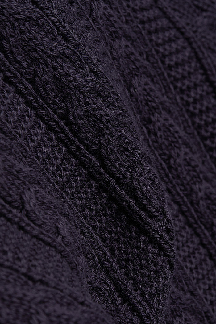 Zip neck jumper, cable knit, 100% organic cotton, NAVY, detail image number 4