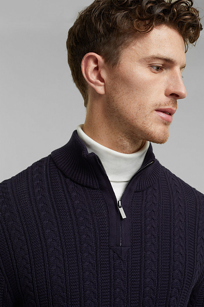 Zip neck jumper, cable knit, 100% organic cotton, NAVY, detail image number 5