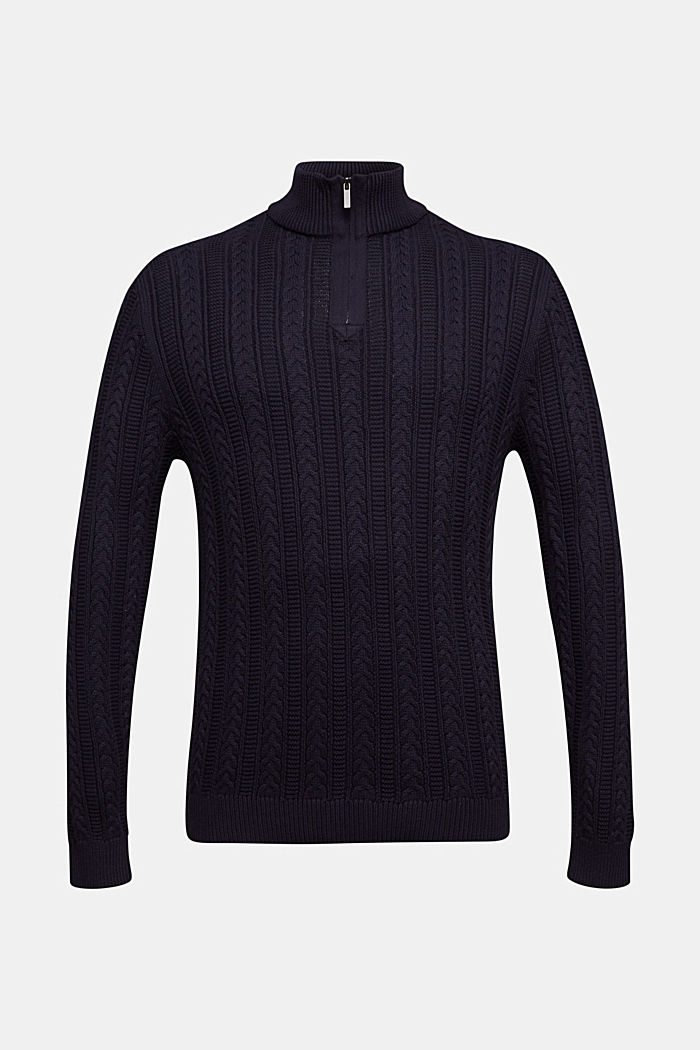 Zip neck jumper, cable knit, 100% organic cotton, NAVY, detail image number 6