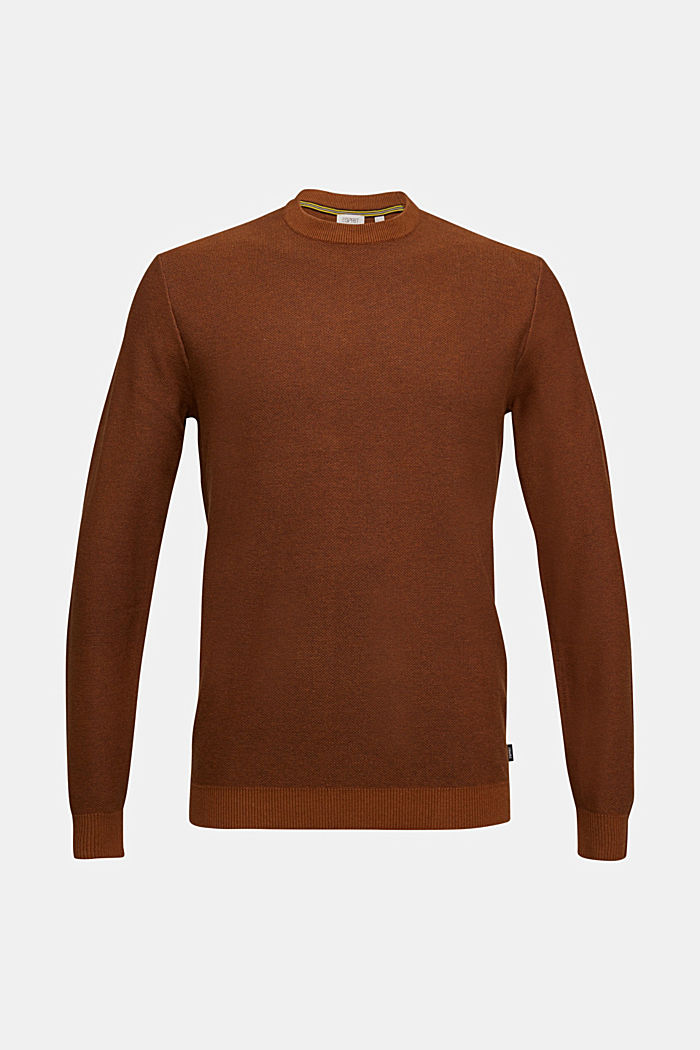 Crewneck jumper made of blended organic cotton, BARK, overview