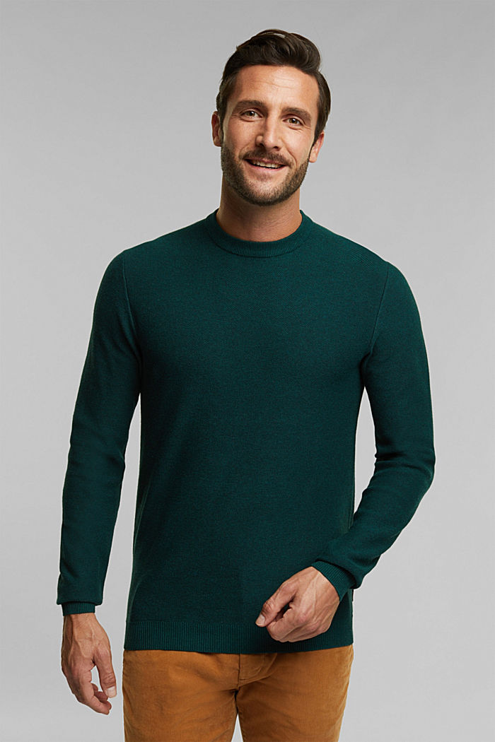 Crewneck jumper made of blended organic cotton, BOTTLE GREEN, overview