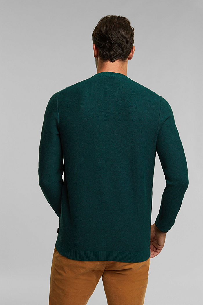 Crewneck jumper made of blended organic cotton, BOTTLE GREEN, detail image number 3