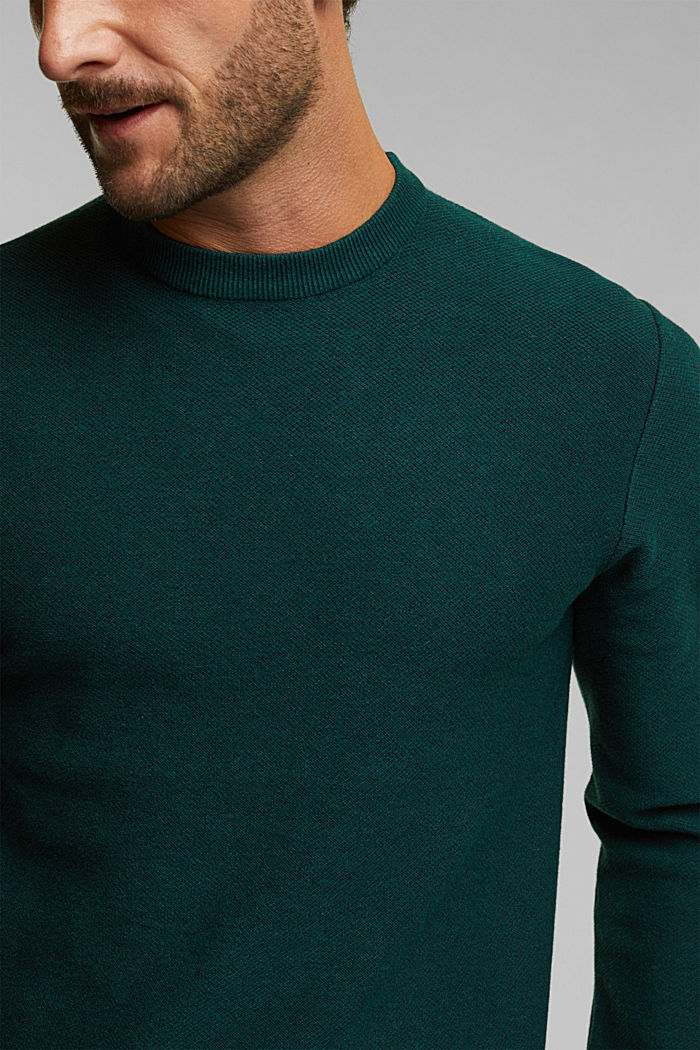 Crewneck jumper made of blended organic cotton, BOTTLE GREEN, detail image number 2