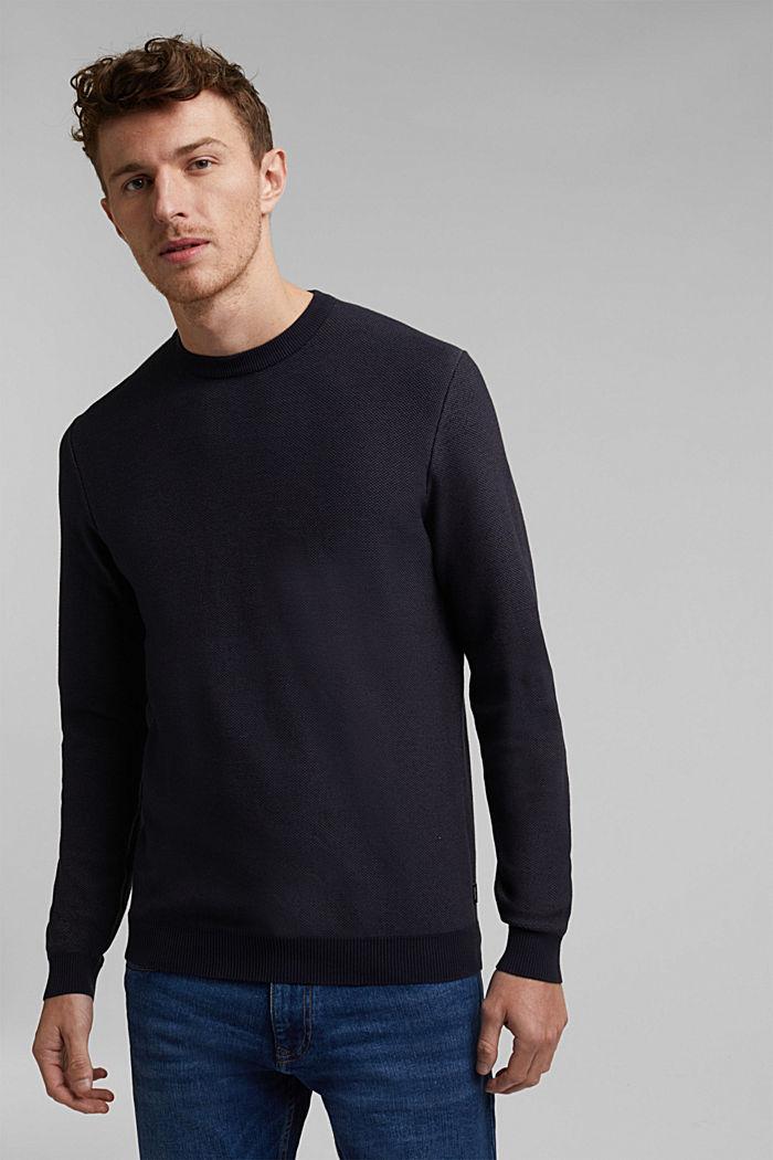 Crewneck jumper made of blended organic cotton, NAVY, detail image number 0