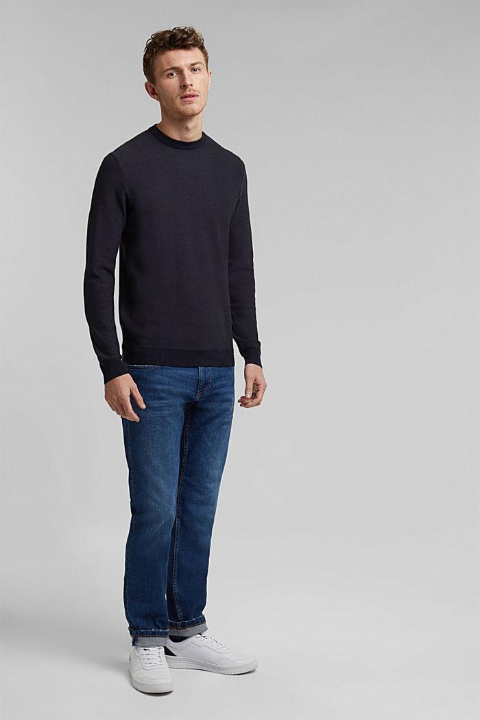 Crewneck jumper made of blended organic cotton, NAVY, detail image number 1