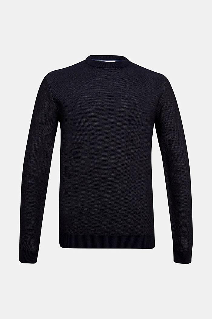 Crewneck jumper made of blended organic cotton, NAVY, detail image number 5