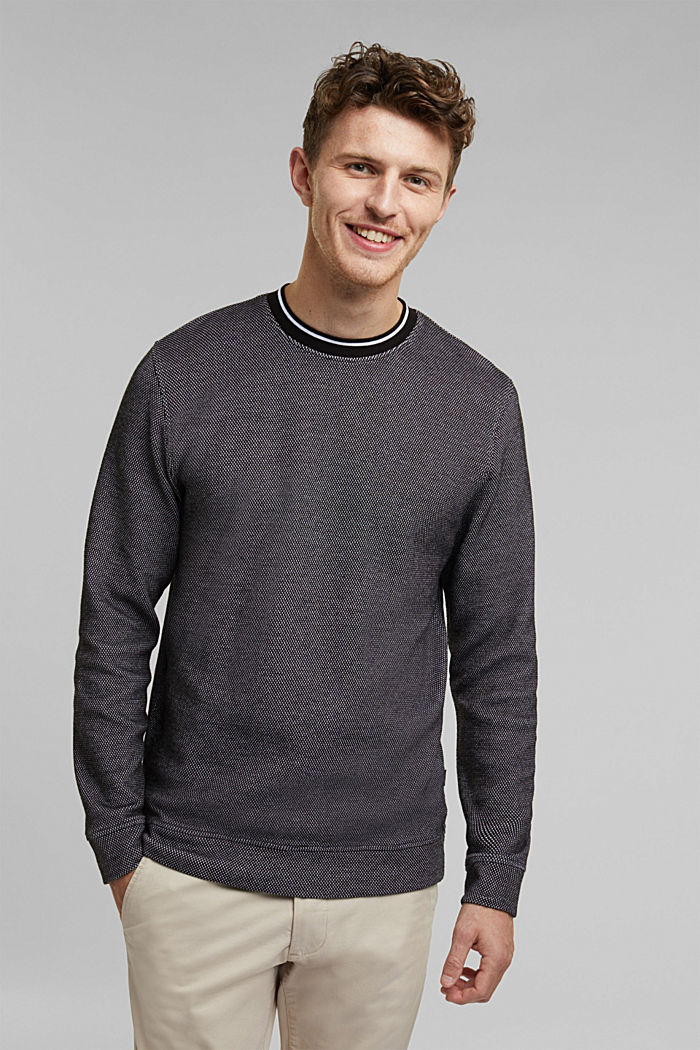 Textured sweatshirt, 100% organic cotton, BLACK, detail image number 0