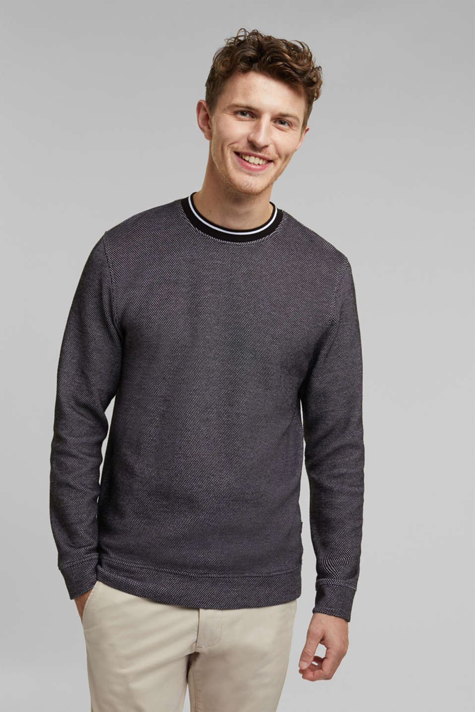 Esprit - Textured sweatshirt, 100% organic cotton