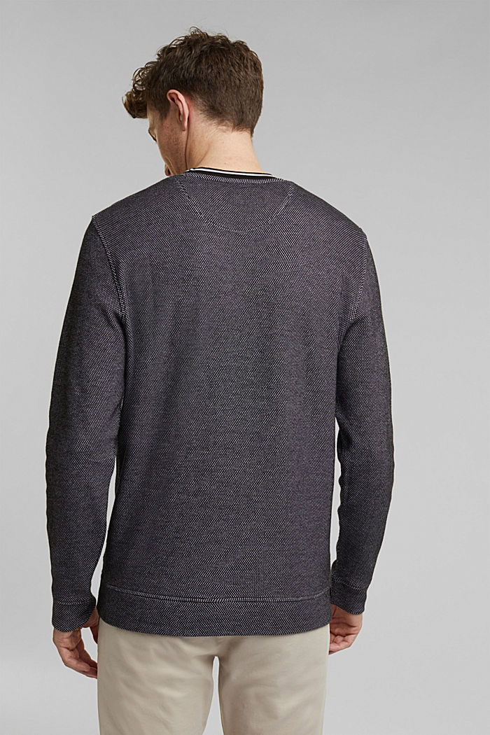 Textured sweatshirt, 100% organic cotton, BLACK, detail image number 3