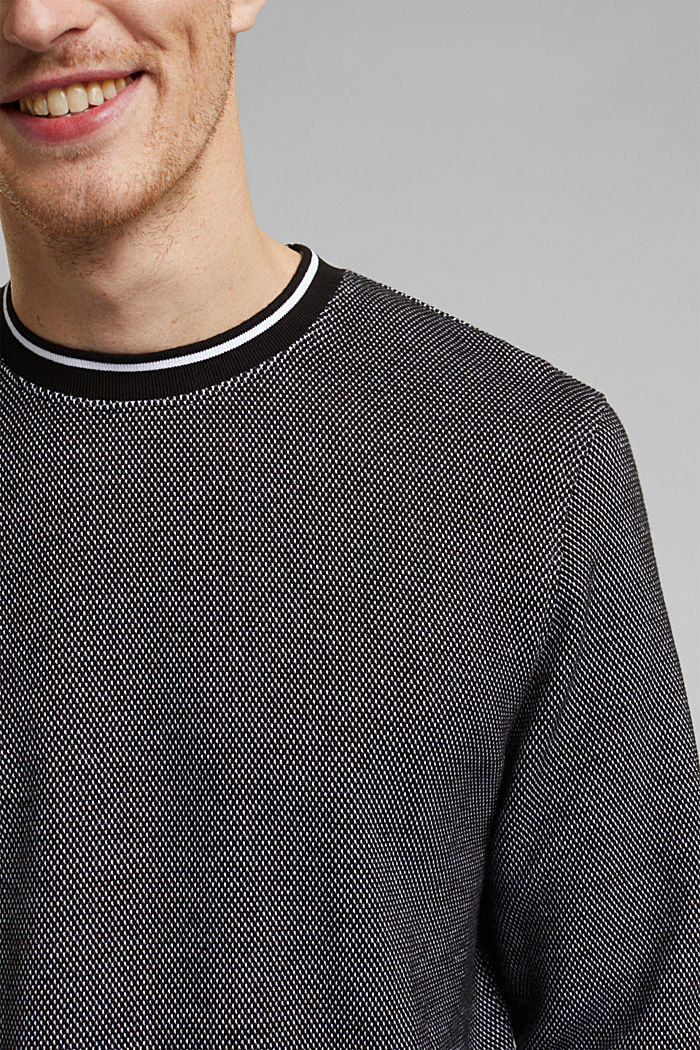 Textured sweatshirt, 100% organic cotton, BLACK, detail image number 2