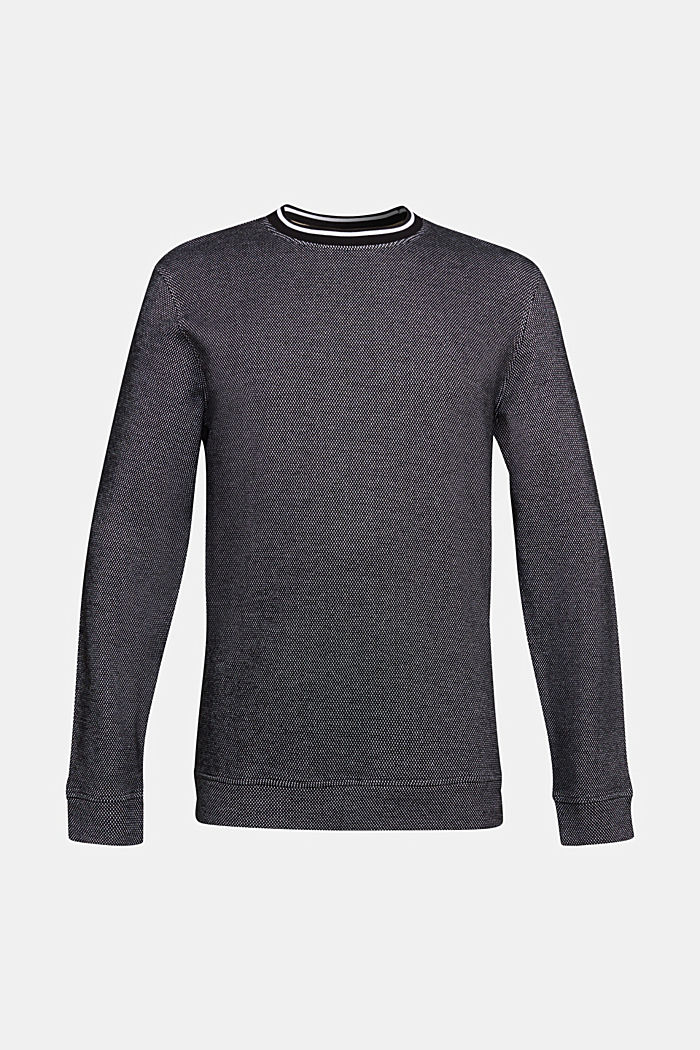 Textured sweatshirt, 100% organic cotton, BLACK, detail image number 6