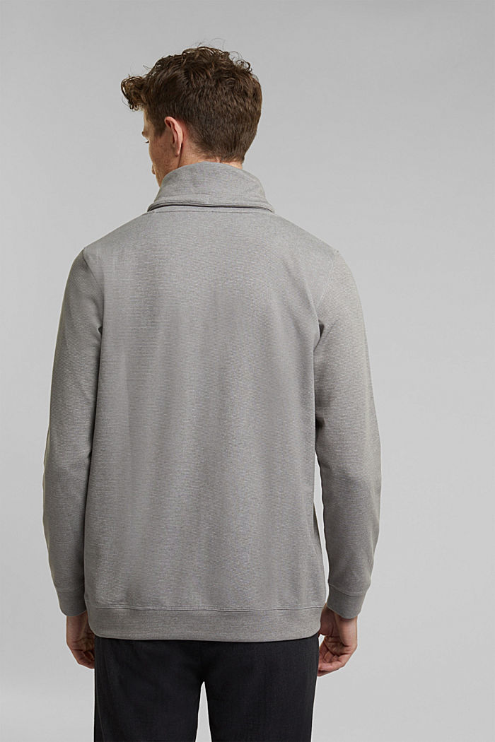 Recycled: Polo neck long sleeve top, organic cotton, LIGHT GREY, detail image number 3