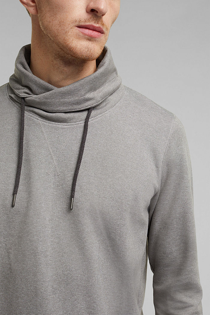 Recycled: Polo neck long sleeve top, organic cotton, LIGHT GREY, detail image number 1