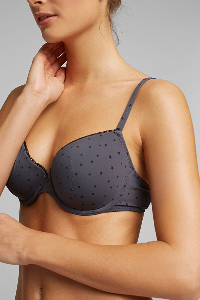 Padded underwire bra with a little star print, ANTHRACITE, detail image number 2