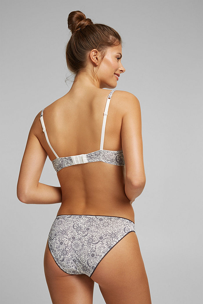 Padded underwire bra with a floral print, OFF WHITE, detail image number 1